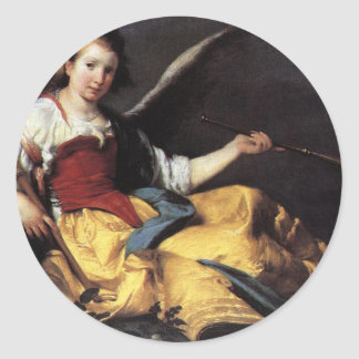 A Personification of Fame by Bernardo Strozzi Round Sticker