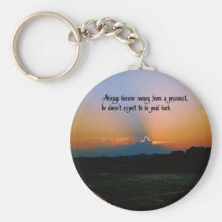 A pessimist basic round button key ring