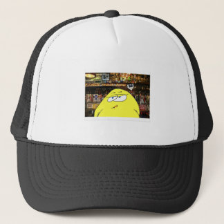 A pickeled egg works at paulie's bar trucker hat