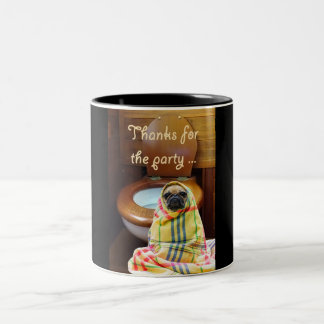 a picture of a pug dog standing next to a toilet. Two-Tone coffee mug
