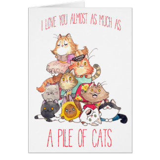 A pile of cats valentine card