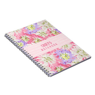 A pink and mauve pretty floral monogram spiral notebook