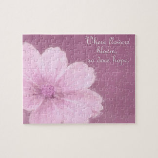 A Pink Cosmos Flower on a Pink Background Jigsaw Puzzle