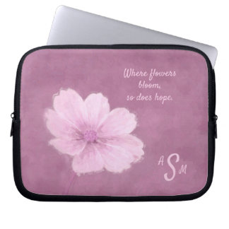 A Pink Cosmos Flower on a Pink Background Laptop Sleeve