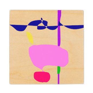 A Pink Fruit Wood Coaster