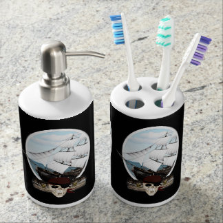 A Pirate Ship Soap Dispenser And Toothbrush Holder