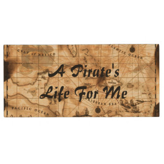 A Pirate's Life For Me Caribbean Treasure Map Wood USB 2.0 Flash Drive