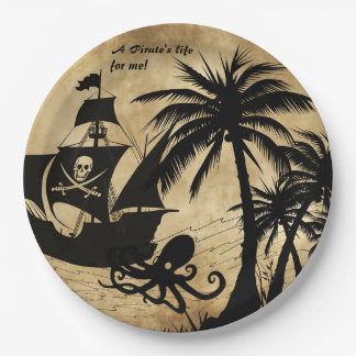 A Pirate's Life For Me Ship at Sea 9 Inch Paper Plate