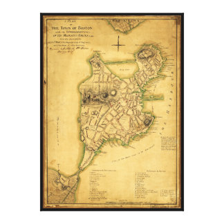 A Plan of the Town of Boston Map (1775) Canvas Print