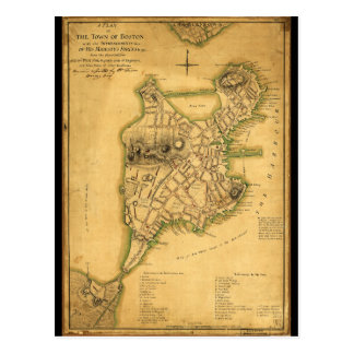 A Plan of the Town of Boston Map (1775) Postcard