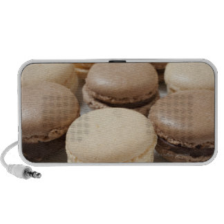 A plate of Chocolate and Vanilla Macarons, the Notebook Speakers