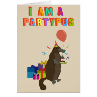 A platypus who loves to party card