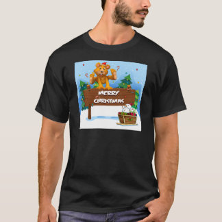 A playful bear playing near the christmas signboar T-Shirt
