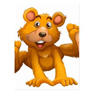 A playful brown bear postcard