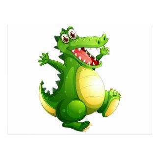A playful green crocodile postcard