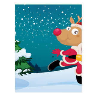 A playful reindeer wearing Santa's outfit Postcard