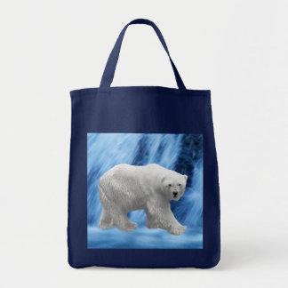 A polar Bear at the frozen waterfall Bags