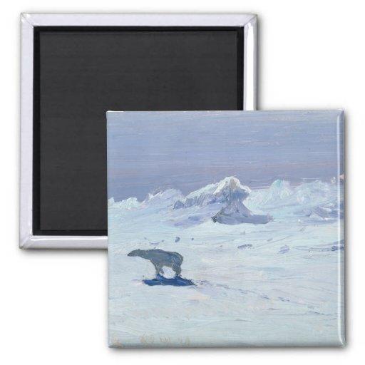 A Polar Bear Hunting in Moonlit Night, 1899 Fridge Magnet