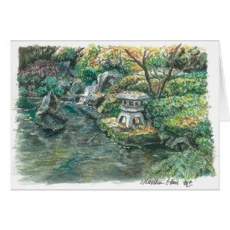 A pond with a pagoda card