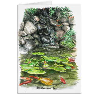 A pond with fish card