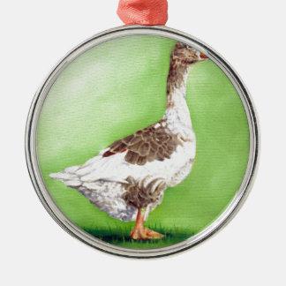A Portrait of a Goose Metal Ornament