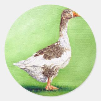 A Portrait of a Goose Round Sticker