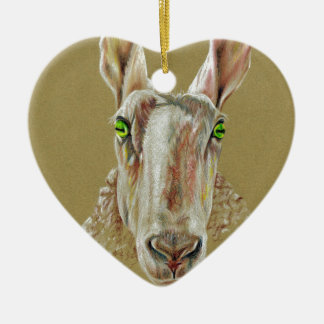 A portrait of a sheep ceramic heart decoration
