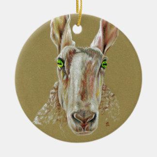 A portrait of a sheep ceramic ornament