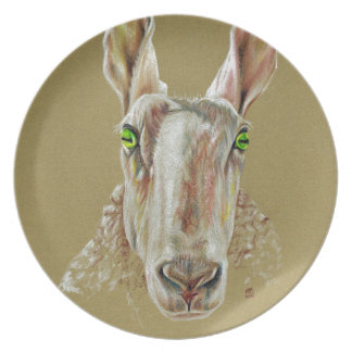 A portrait of a sheep plate
