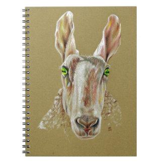 A portrait of a sheep spiral notebook