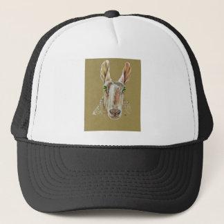 A portrait of a sheep trucker hat