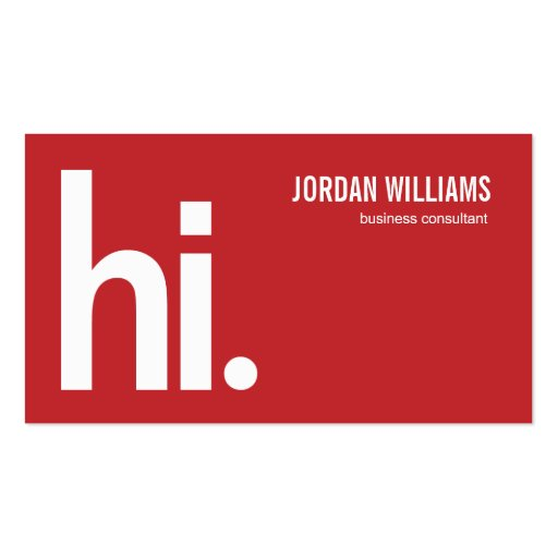 A Powerful Hi - Modern Business Card - Red Business Card