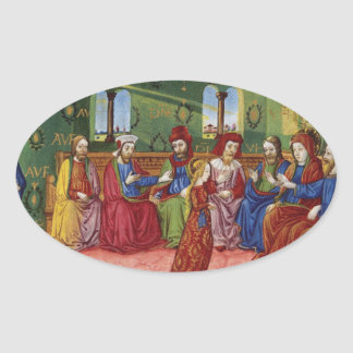 A Presentation of Virgin Mary c1476 Oval Sticker