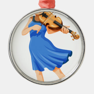 A pretty girl playing the violin metal ornament