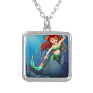 A pretty mermaid trapped with the big rocks under square pendant necklace