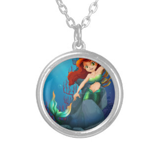 A pretty mermaid trapped with the big rocks under round pendant necklace