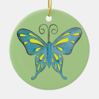 A Pretty Teal and Yellow Butterfly on Green Round Ceramic Decoration