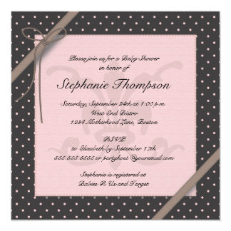 A Princess on the Way Pink Polka Dot Baby Shower 13 Cm X 13 Cm Square Invitation Card