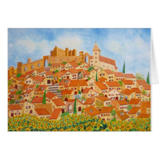 A Provençal village with yellow sunflowers Card