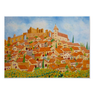 A Provencal village with yellow sunflowers poster