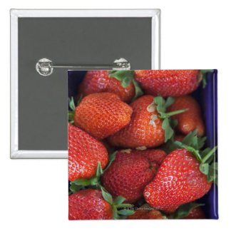 a punnet of ripe fresh strawberries for sale in 15 cm square badge