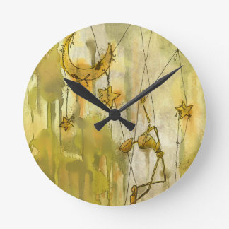 A Puppet's Dream of Moon and Stars on String Wallclocks