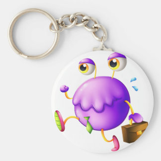 A purple monster with a new job key ring