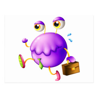 A purple monster with a new job postcard