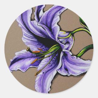 A purple stargazer lily classic round sticker