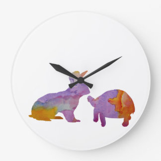 A rabbit and a tortoise large clock