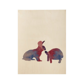 A rabbit and a tortoise wood poster