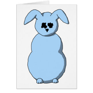A Rabbit of Snow Cartoon in Pale Blue Greeting Card