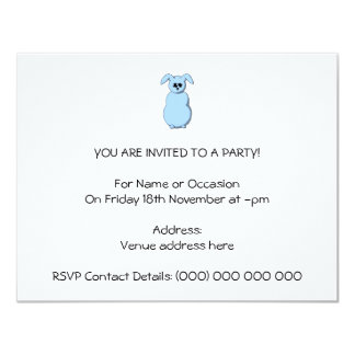 A Rabbit of Snow, Cartoon in Pale Blue. Personalized Announcements