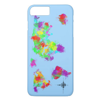 A Rainbow Colored World Map Graphic iPhone 7 Plus Case